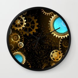 Steampunk Background with Gears Wall Clock