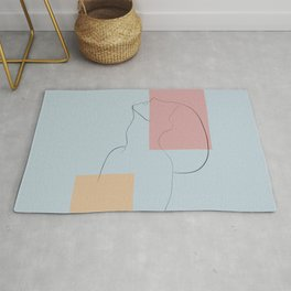 Side view line portrait abstract  Rug