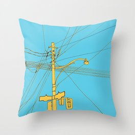 Cables and wires over Queen and Bathurst Throw Pillow