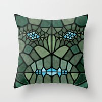 kaiju Throw Pillows featuring Kaiju Voronoi by Enrique Valles