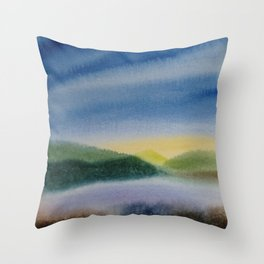 Mountain and Sea 5 / Watercolor Painting Throw Pillow