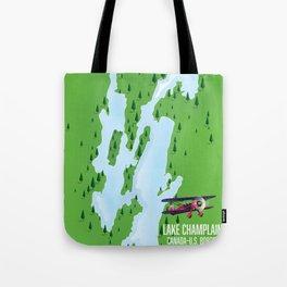 Lake Champlain US Canada travel poster Tote Bag