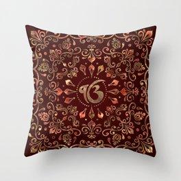 Ek Onkar / Ik Onkar  Gemstone red and gold Throw Pillow