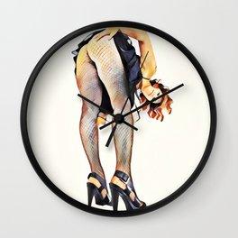 8512s-SLG Hot Girl Bend Over Fishnet Stockings High Heel Pumps Wall Clock