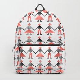 Romanian Hora people cross-stitch pattern white Backpack