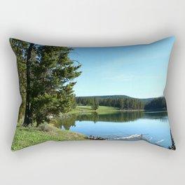 Peaceful Morning At Yellowstone River Rectangular Pillow