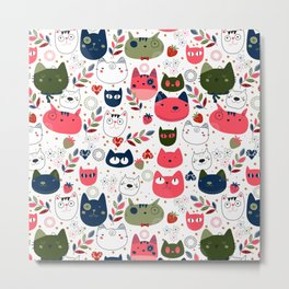Lovely Cats Pattern for Cats Lovers. Metal Print