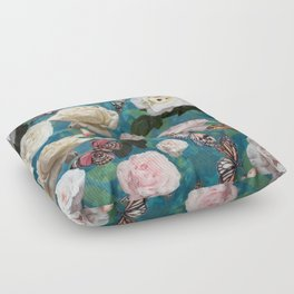 White Roses and Butterflies Floor Pillow