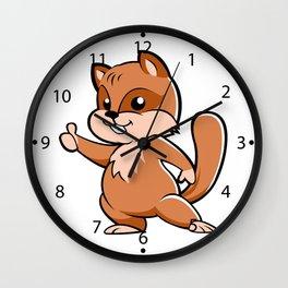 Cute cartoon squirrel. Wall Clock