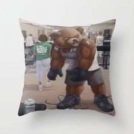 Bodybuilder Teddy Throw Pillow