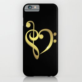 Treble clef, bass clef music heart love iPhone Case
