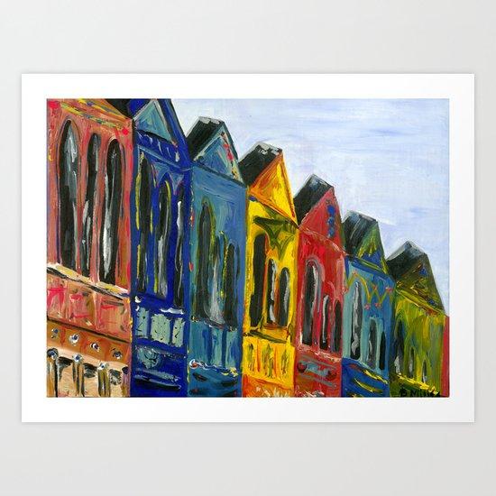Rainbow Row Art Print