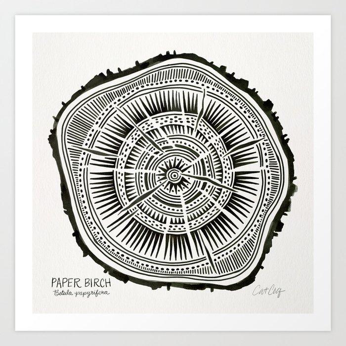 Paper Birch – Black Tree Rings Art Print