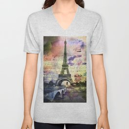 Eiffel Tower Paris Unisex V-Neck