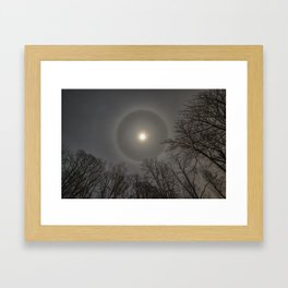 Moon Halo in the forest Framed Art Print