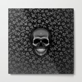 Skull with Floral Pattern Metal Print