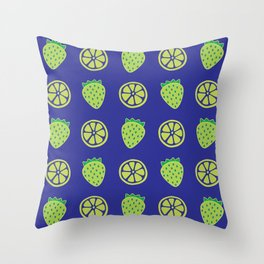 Tropical exotic grapefruit slices and sweet strawberries summer fruity green navy blue cute pattern design. Throw Pillow