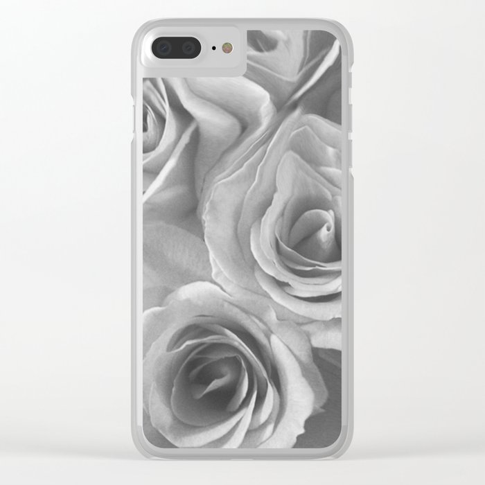 Roses in Black and White Clear iPhone Case