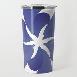 Indigo ombre six-petaled spiral flower Travel Mug