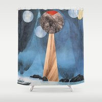voyage Shower Curtains featuring VOYAGE by cedar q waxwing