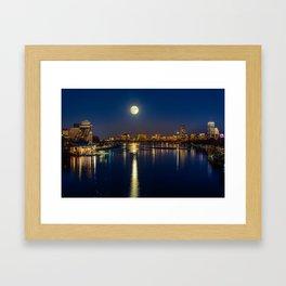 Moon light city of Boston Framed Art Print
