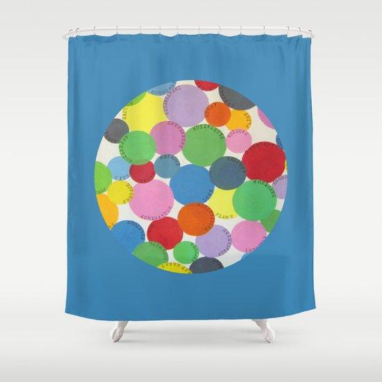 Word Bubbles Blue Shower Curtain