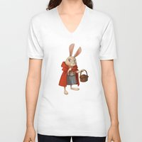 red riding hood V-neck T-shirts featuring Little Red Riding Hood by Alyssa Tallent
