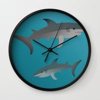 sharks Wall Clocks featuring Sharks by Bwiselizzy