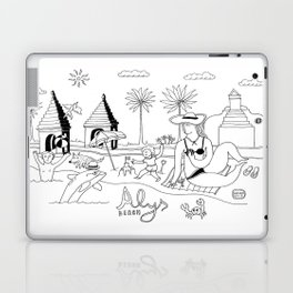 Funny Figurative Line Drawing of Alys Beach Community on 30a Laptop & iPad Skin