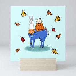 Llama Say How Much I Love Fall Mini Art Print