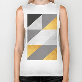Gray and gold texture II Biker Tank