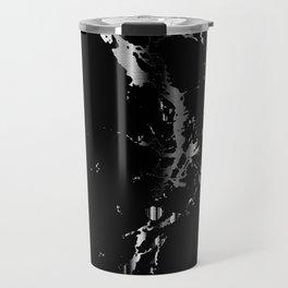 Black and Silver Marble Pattern Design Travel Mug