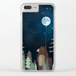the moon balloon Clear iPhone Case