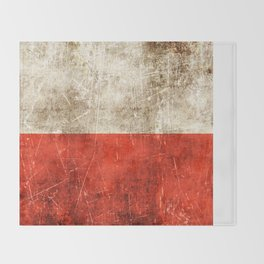 Vintage Aged and Scratched Polish Flag Throw Blanket