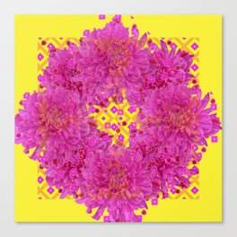 Massed Fuchsia Pink Chrysanthemums Wreath Yellow Art Canvas Print