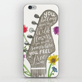 You belong among the wildflowers. Tom Petty quote. Watercolor guitar illustration. Hand lettering. iPhone Skin