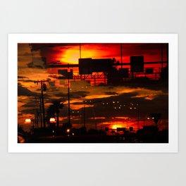 BINARY SUNDOWN - RED Art Print