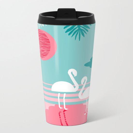Chill Vibes - memphis retro throwback 1980s 80s neon pop art flamingo paradise socal vacation  Metal Travel Mug