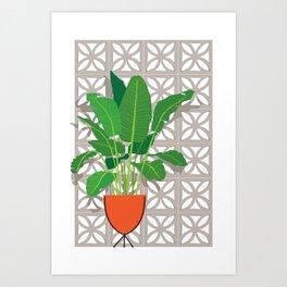 Breeze Block Wall and Mod Planter Art Print