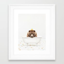 Big Brown Bear with Rubber Ducky in Vintage Bathtub Framed Art Print