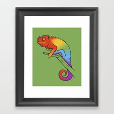 Confused chameleon Framed Art Print