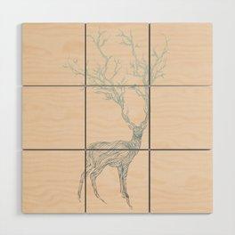 Blue Deer Wood Wall Art