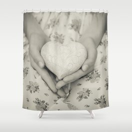 Heart in her hands Shower Curtain