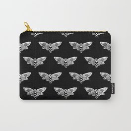 Linocut Moth black and white minimal insect animal lepidoptery moths art Carry-All Pouch