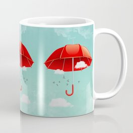 Teal Sky Red Umbrella Coffee Mug