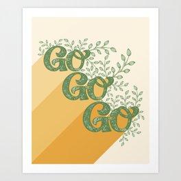 Go Go Go - Orange/Green Art Print