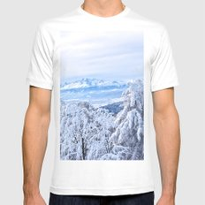 White out #mountains #winter MEDIUM White Mens Fitted Tee