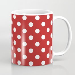 Small Polka Dots - White on Firebrick Red Coffee Mug