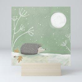 Moonlight Hedgehog Mini Art Print