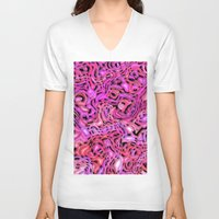 hot pink V-neck T-shirts featuring Intricate Emotions, hot pink by MehrFarbeimLeben